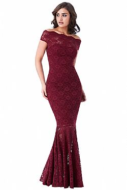maxi φόρεμα bardot deep wine lace