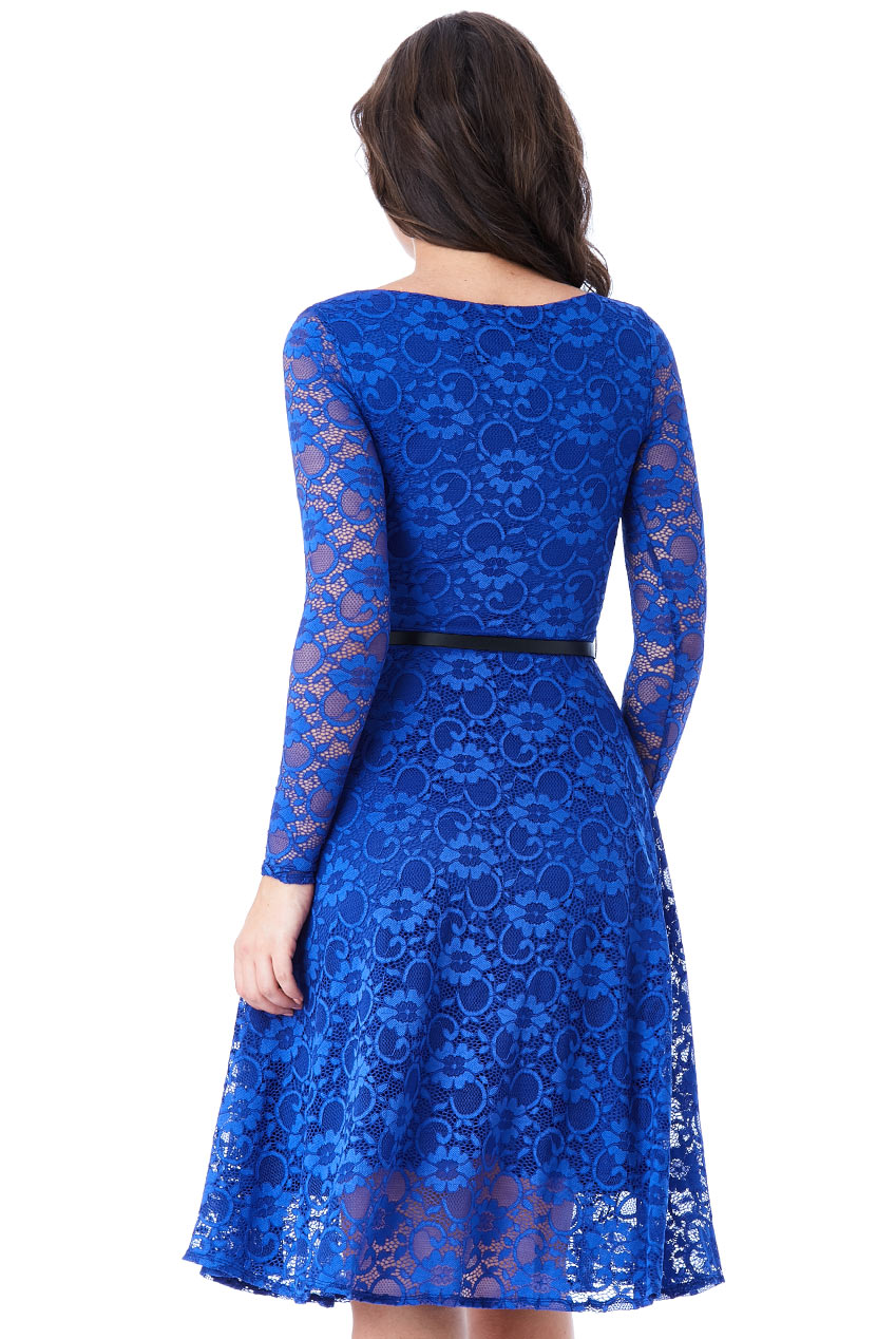4ecf1afe7d0d timeless chic midi φόρεμα δαντέλα κλος σε royal μπλε