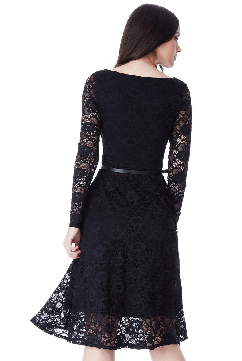 647b2eb8b79 timeless chic midi φόρεμα δαντέλα κλος σε total black