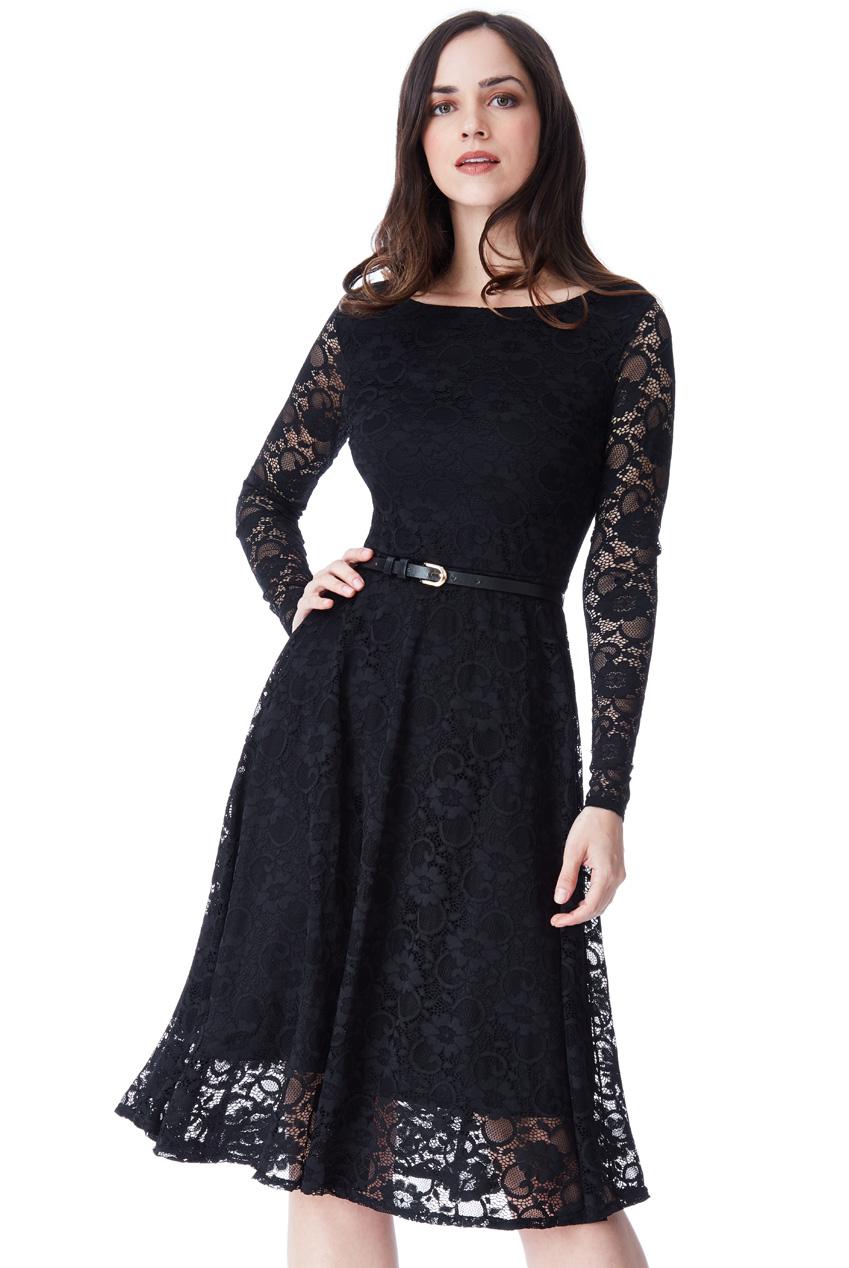 874231954f3e timeless chic midi φόρεμα δαντέλα κλος σε total black
