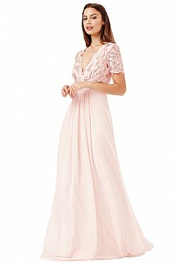 shinny paillete top αέρινο bridal blush φόρεμα Daphne