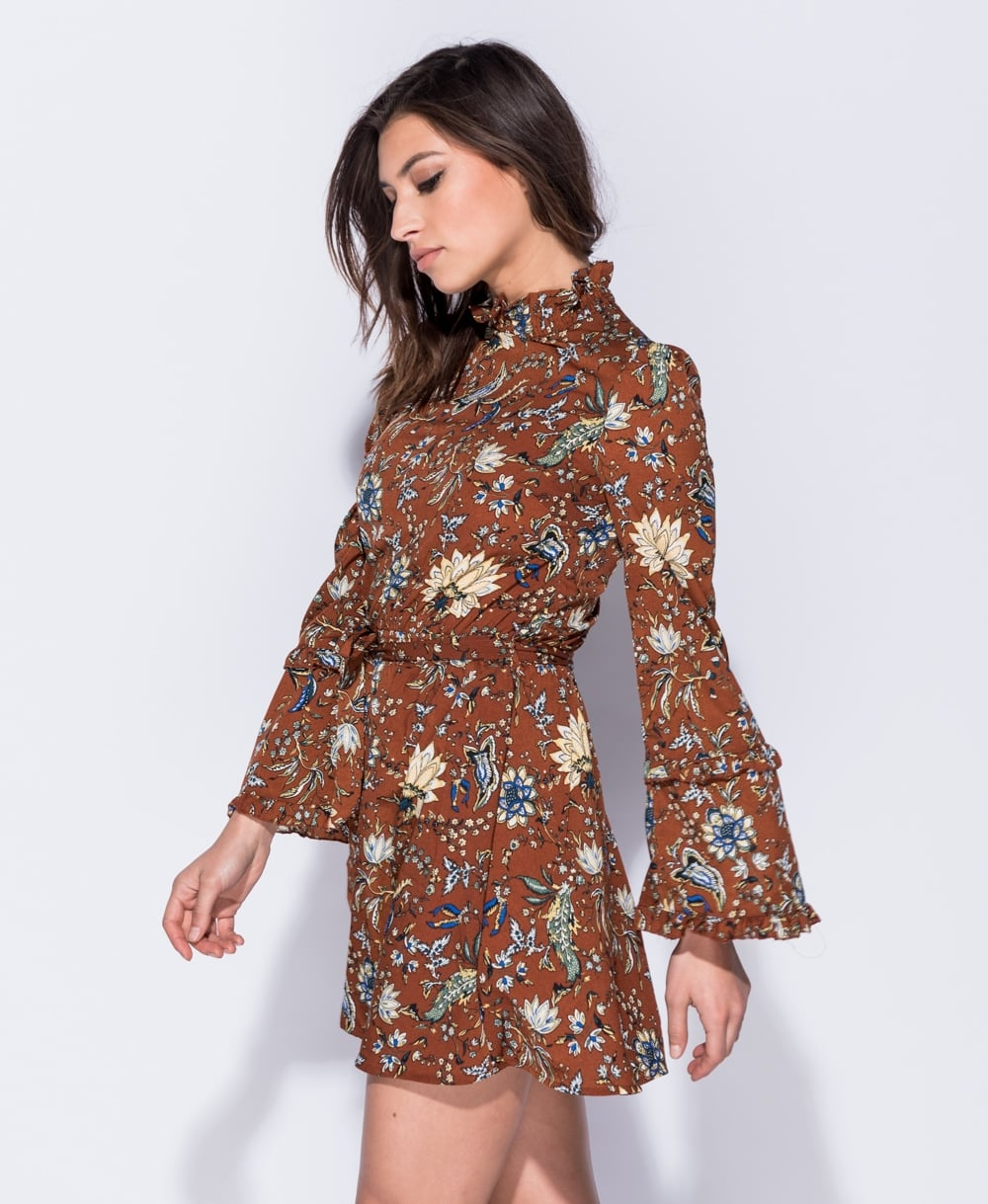 43333d3ee39d boho 70s floral mini φόρεμα τουνίκ Cora