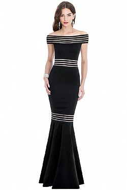 modernity stripes maxi bardot φόρεμα