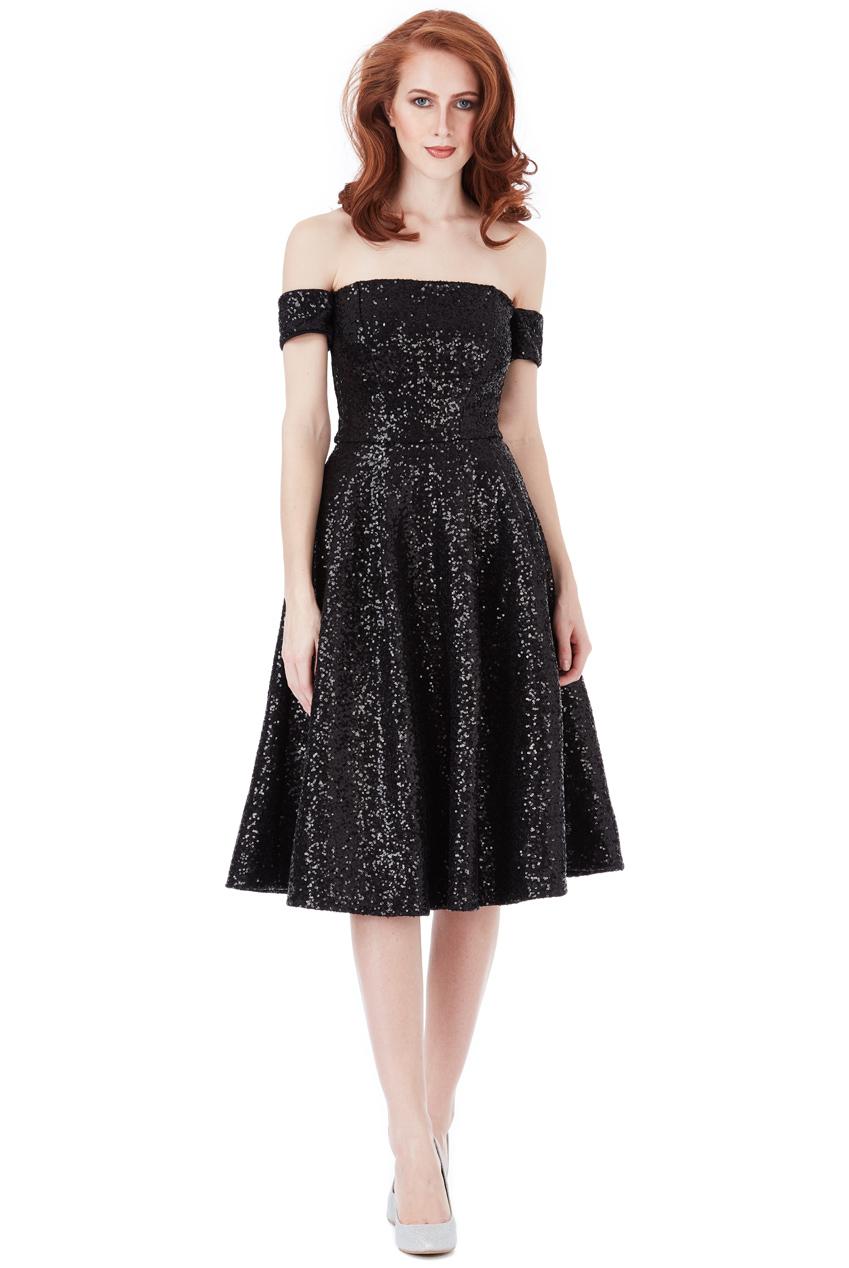 93fa5ea7f8d0 shinny glamorous 50s vintage φόρεμα bardot