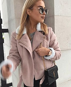 blogger sheepskin pink petite jacket