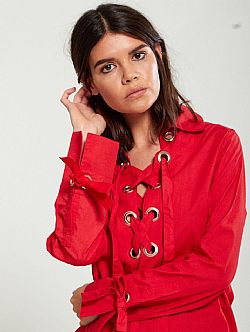 casual luxe hot red τουνίκ lace up
