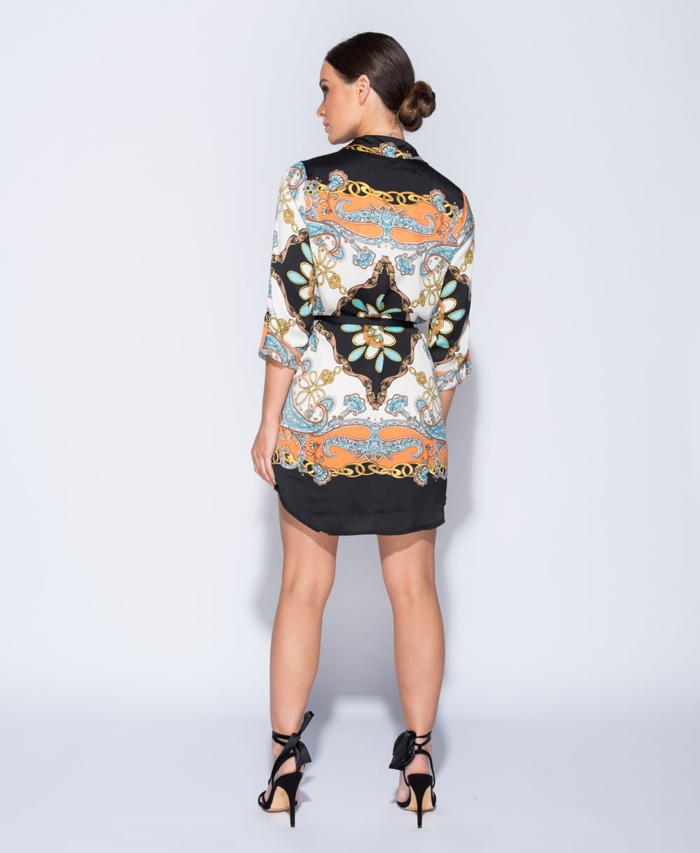 blogger Versace styled ropes & chains shirt dress
