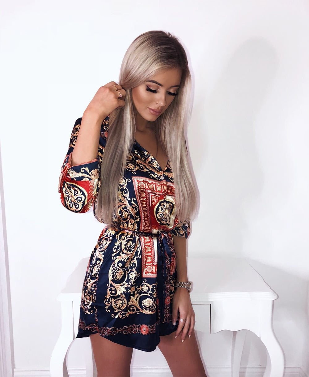 blogger Versace styled baroque shirt dress