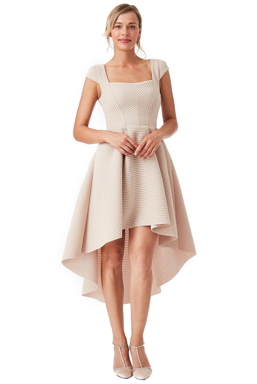 2799d5c09e81 high end ασύμμετρο structured φόρεμα σε μπεζ stone