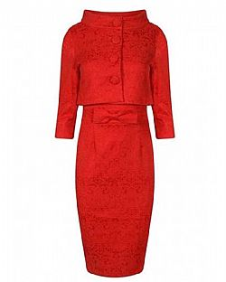 the ultimate pencil Jackie O style twinset σε coral red