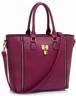 oversized business tote τσάντα padlock σε μωβ plum