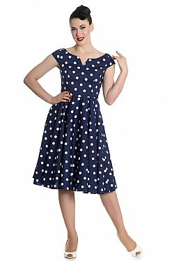 vintage classic chic πουά φόρεμα Nicky 50s blue
