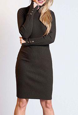 b034617e9825 basic πλεκτό rib φόρεμα Kylie khaki ...