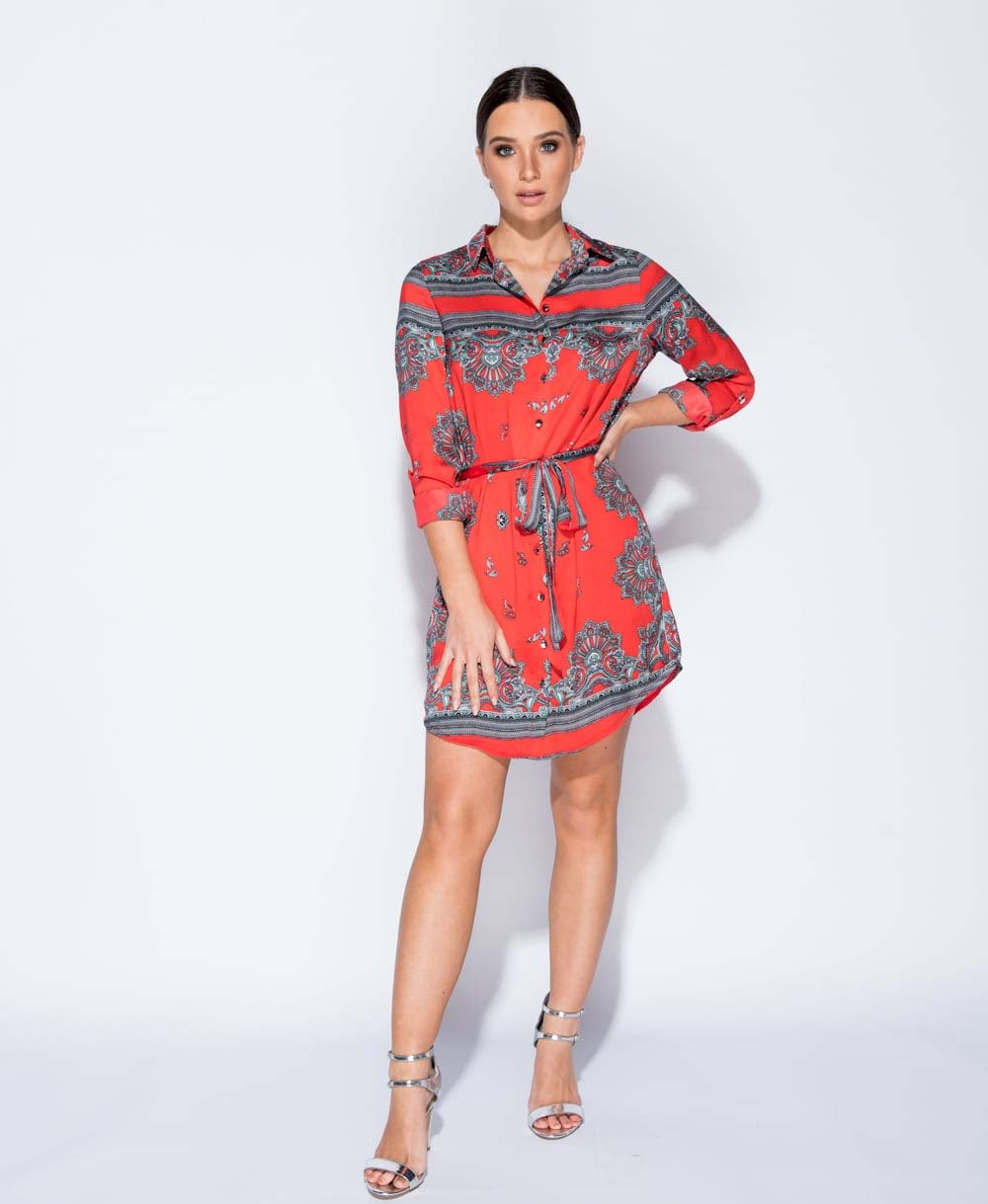 blogger Versace styled red scarf dress