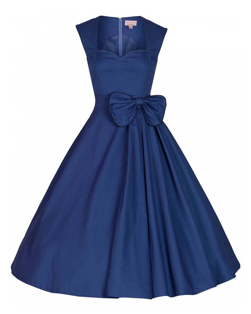 bda4458a3b83 vintage 50s chic midnight μπλε φόρεμα Grazia cotton