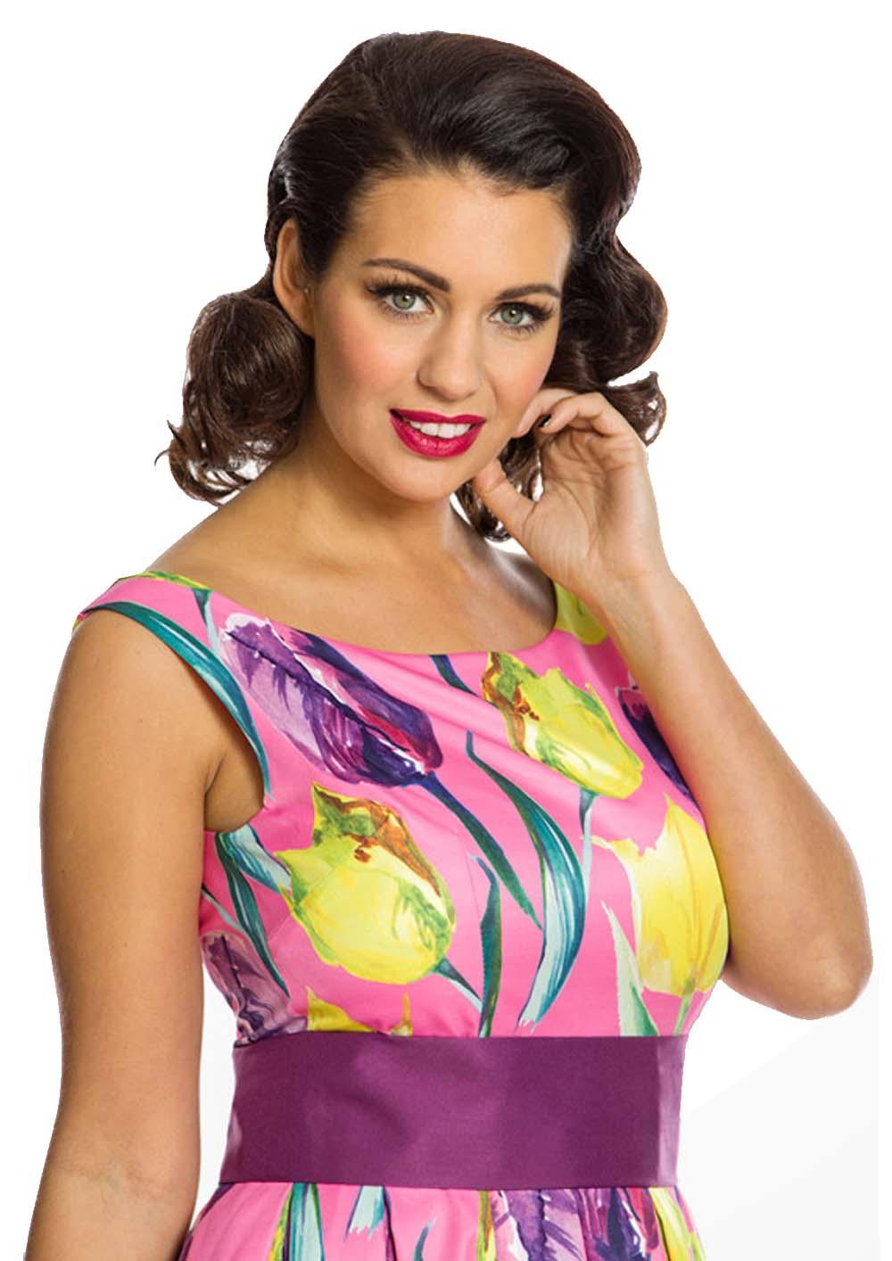 6451d0dbe3e7 vintage φόρεμα Lane fluo hot pink tulips