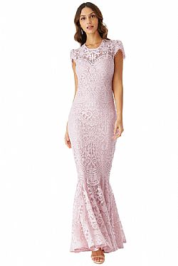 sophisticated maxi φόρεμα chantilly δαντέλα mermaid σε ροζ poudre