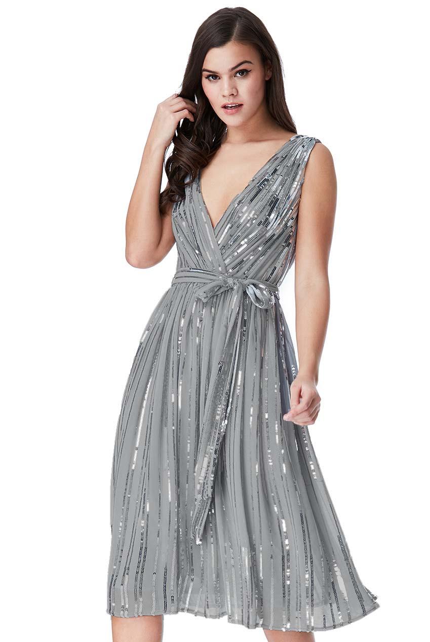 3c2b4c64e57f star quality 30s wrap chiffon φόρεμα paillettes σε medium γκρι