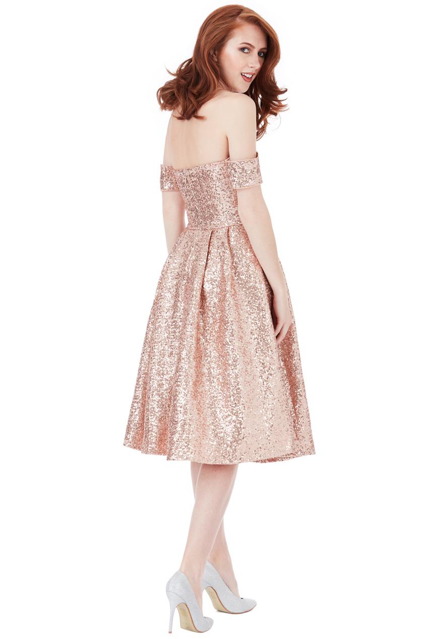 shinny glamorous 50s vintage φόρεμα bardot σε caramel ca3f6fbbbaa