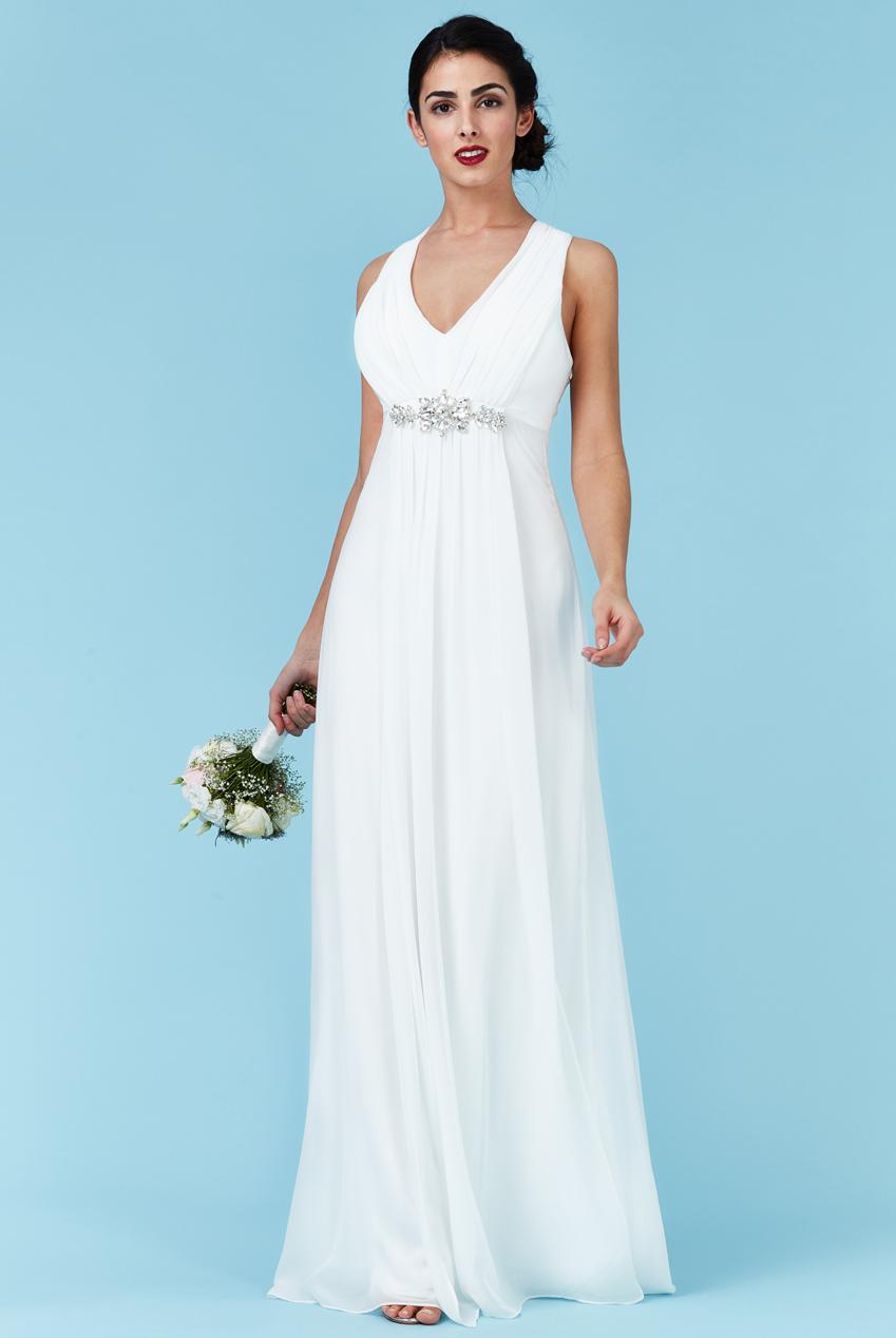 770943327439 bridal αέρινο princess maxi φόρεμα σε λευκό