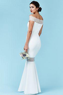 bridal modernity stripes maxi bardot φόρεμα σε λευκό ... 143e9e99305