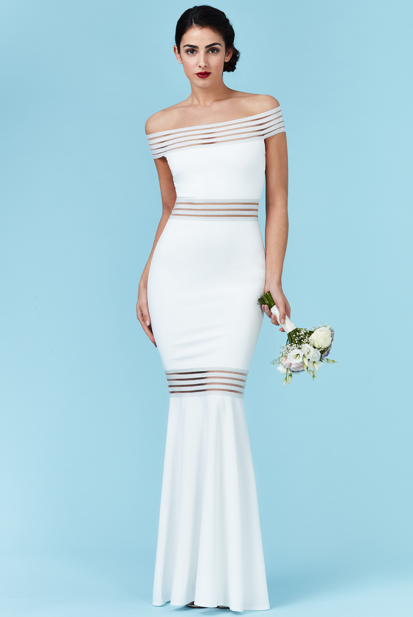 ae10ade8da31 bridal modernity stripes maxi bardot φόρεμα σε λευκό
