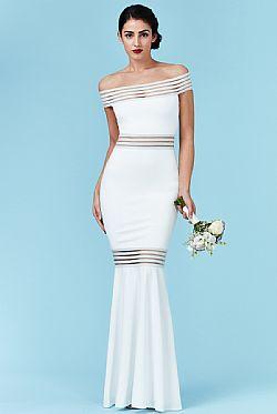 ... bridal modernity stripes maxi bardot φόρεμα σε λευκό 2e5eefe463e