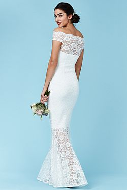 bridal maxi φόρεμα bardot deep white lace