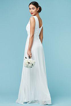 bridal φόρεμα delicate deep V tulle paillettes σε off white ... 49cb077608d