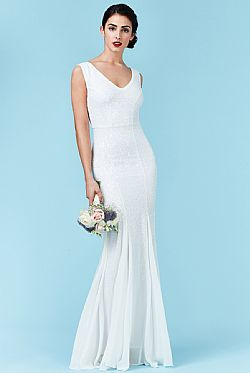 bridal αέρινο maxi φόρεμα degraded mini paillettes