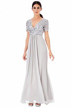 ... shinny paillette top αέρινο silver γκρι φόρεμα Daphne 6c1a25985e2