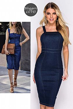 denim blogger sexy midi φόρεμα
