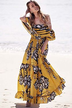 bohemian luxe off shoulder φόρεμα Karlie yellow