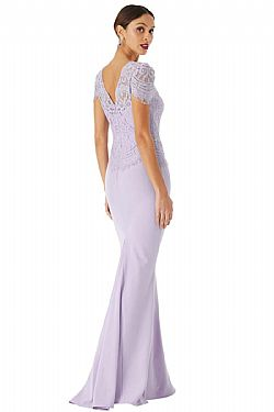 royal chic lavender maxi φόρεμα fine lace
