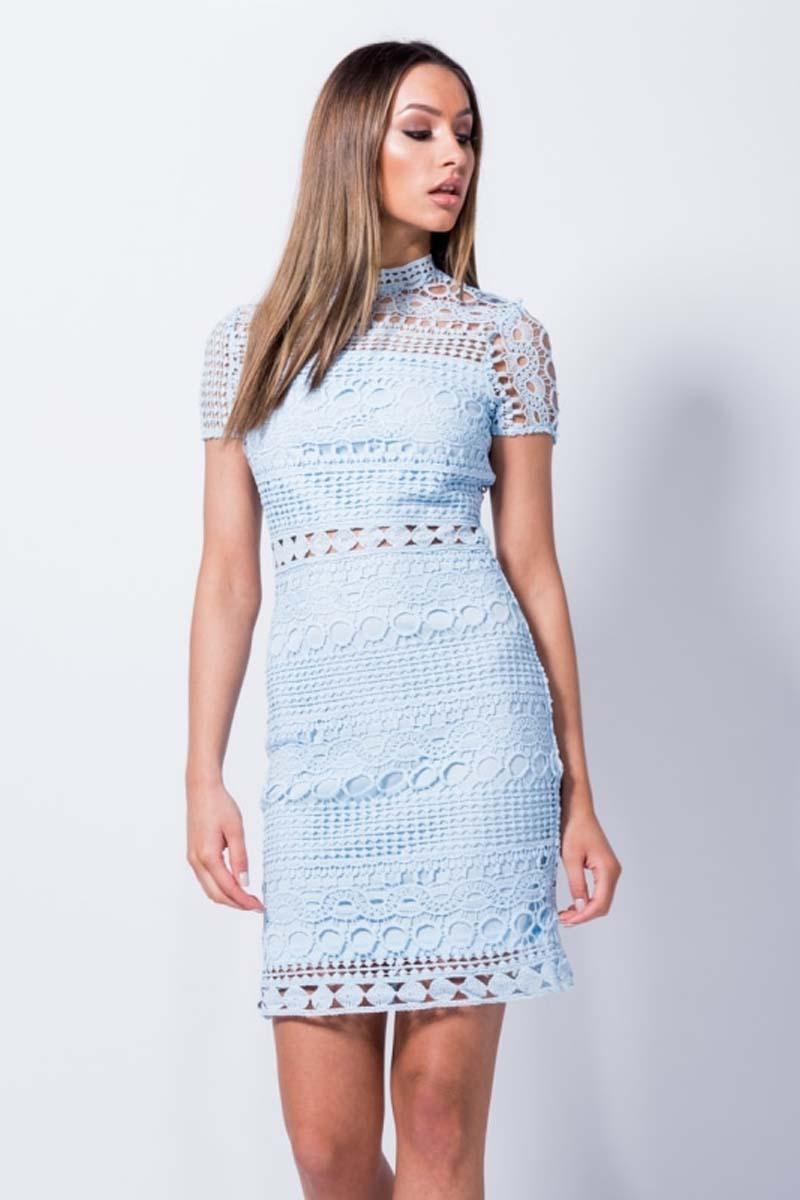 50cd3436b75 chic φόρεμα δαντέλα crochet mademoiselle baby blue