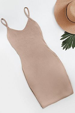 basic mini summer dress σε μπεζ