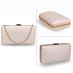 minimal ivory leatherette clutch