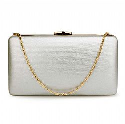minimal silver leatherette clutch