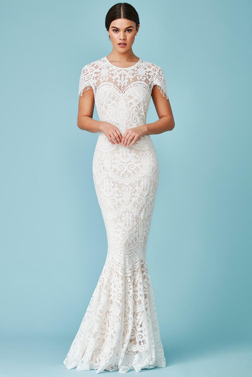 346b414326b3 bridal maxi φόρεμα chantilly δαντέλα mermaid σε nude/λευκό
