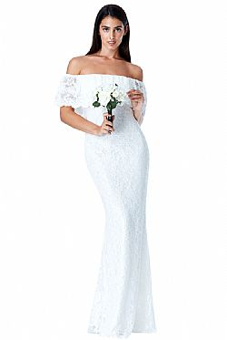 bridal bohemian lace off shoulder φόρεμα