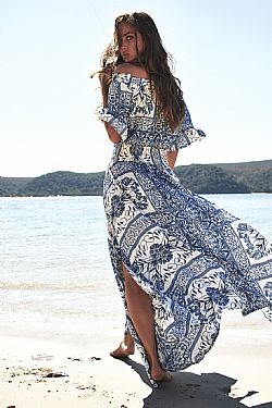 bohemian luxe off shoulder φόρεμα Leah blue island