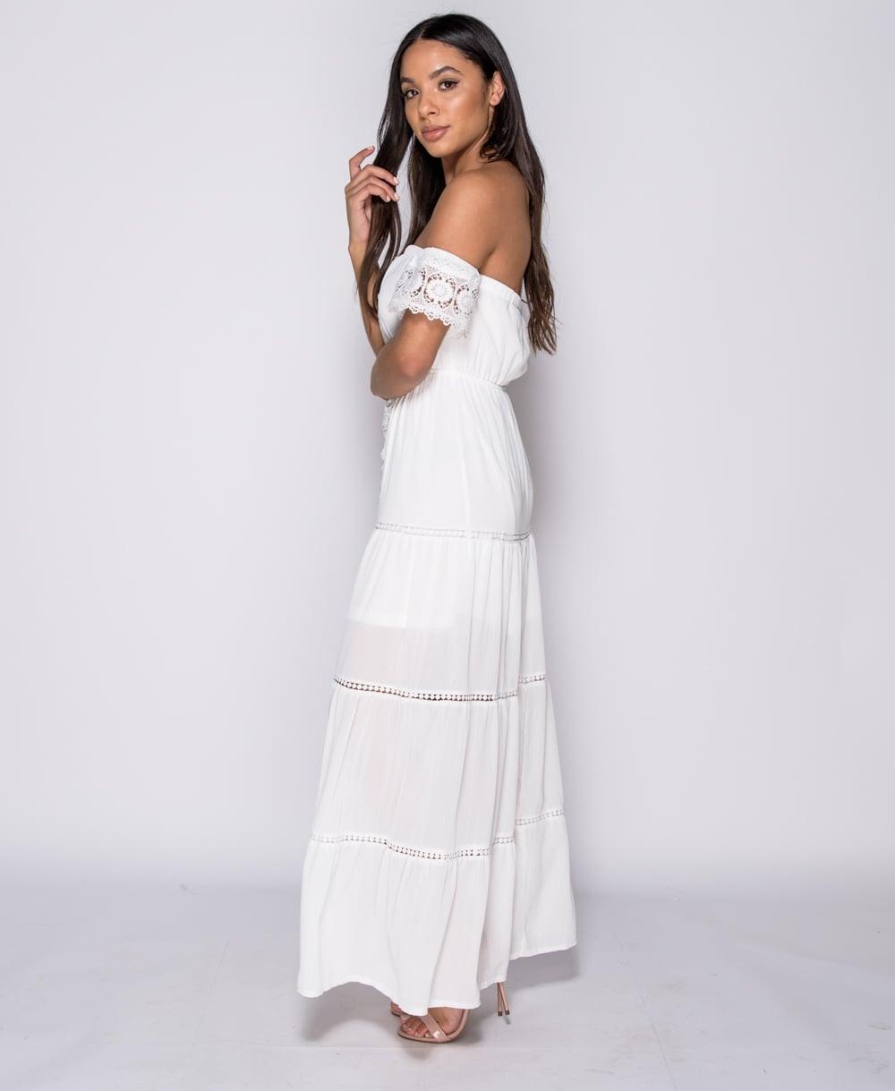 bohemian chic αέρινο total white φόρεμα crochet trim δαντέλα ... e84f96db8f0