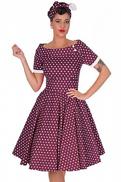 vintage φόρεμα polka dot Emily purple