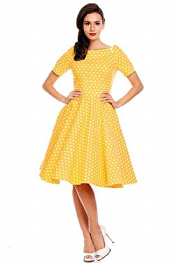 vintage φόρεμα polka dot Emily yellow