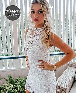 blogger girly white out mini crochet φόρεμα δαντέλα