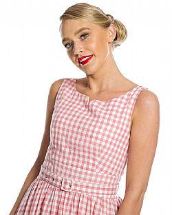 sweet vintage country καρώ φόρεμα Peggy pink