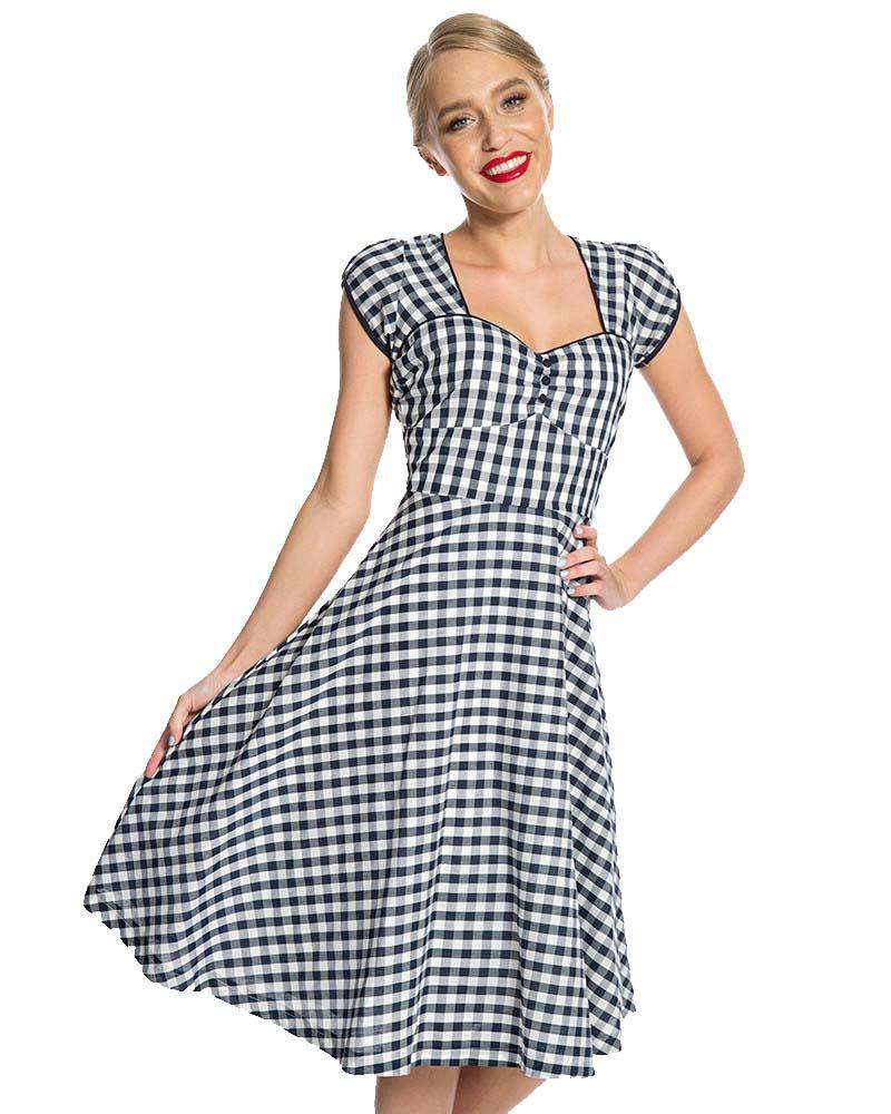 32160b84828 vintage sweet φόρεμα Bella navy καρώ
