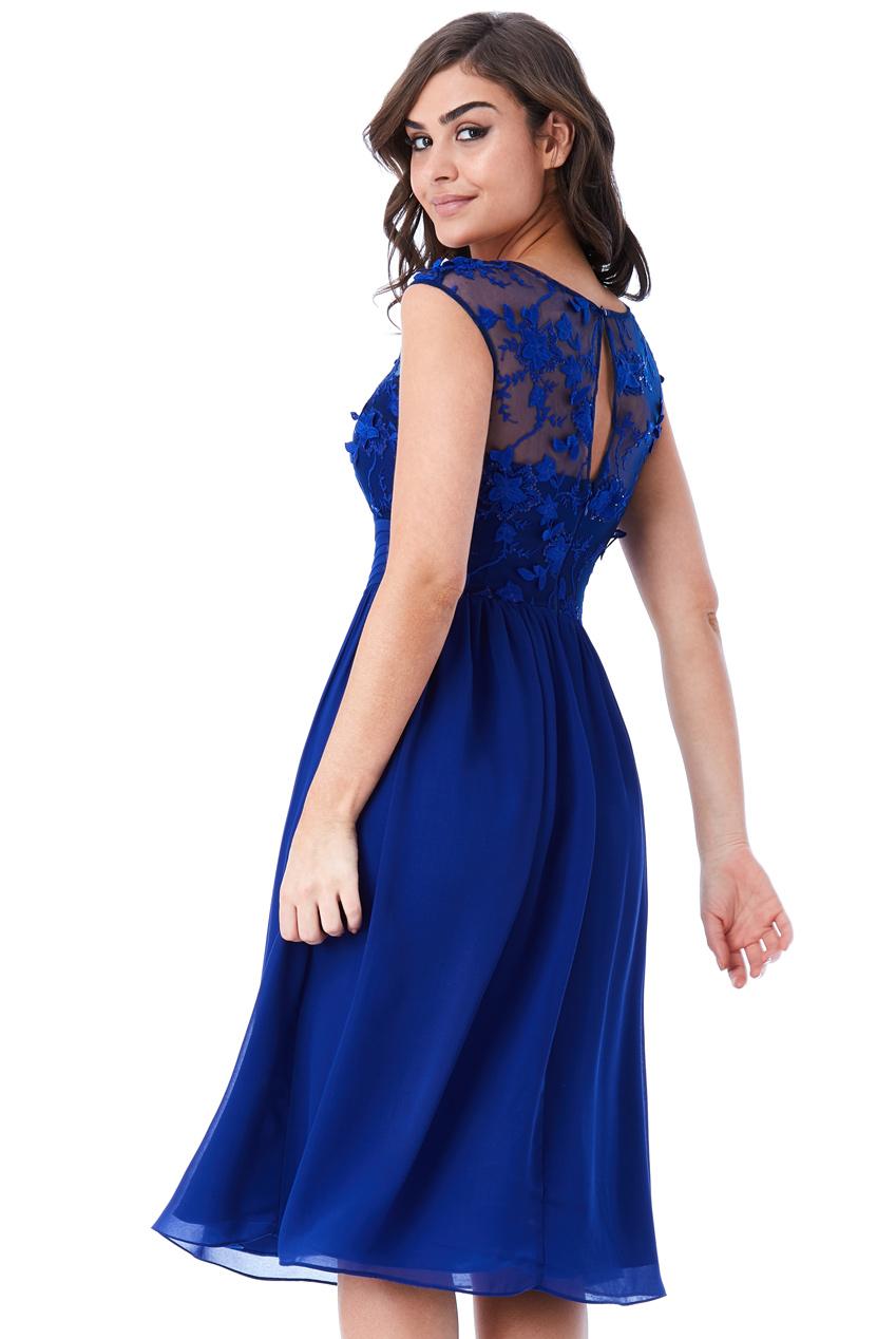αέρινο φόρεμα δαντέλα 3d floral midi royal blue baefaac3bdc