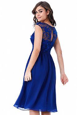 fd39d2fafd16 αέρινο φόρεμα δαντέλα 3d floral midi royal blue ...