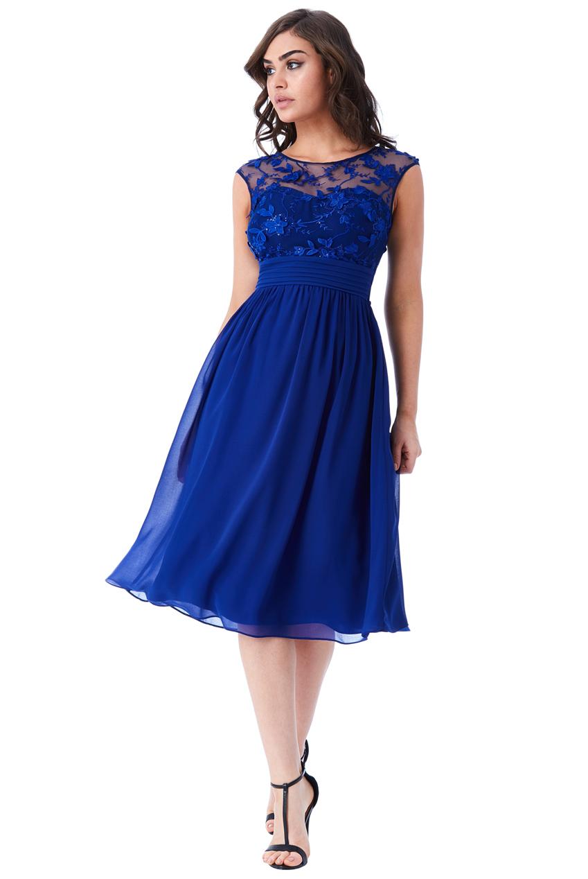 f2ddf52554fe αέρινο φόρεμα δαντέλα 3d floral midi royal blue